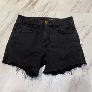 American Eagle Hi Rise Shortie Black Shorts 4